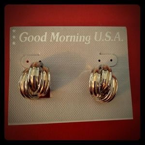 Vintage Clip Silver and Gold Hoop Earrings A1
